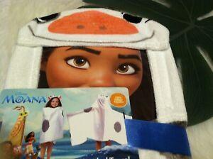 "Disney Moana 100% Cotton Hooded Cape Bath/Pool/Beach Towel NWT 22 X 51"""