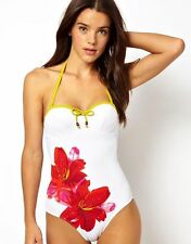 bnwt new Lepel white Lily print swimsuit swimming costume size 32DD