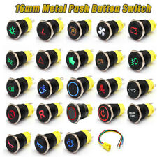16mm 12V-24V Waterproof Car LED Power Push Button Momentary Switch Metal ON/OF