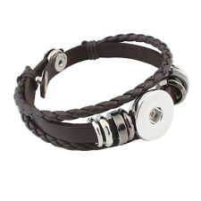 BROWN Leather Bracelet 18-20mm Interchangeable Snap Jewelry Fits Ginger Snaps