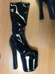 Pleaser XTC Women's Knee High Pole Dancing Platform Heels Shoes Black UK Size 4