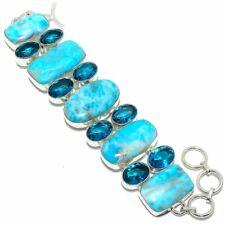 "Caribbean Larimar, Blue Topaz Gemstone Handmade Jewelry Bracelet 7-8"""