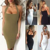 Women Bodycon Sleeveless Evening Party Cocktail Clubwear Midi Dress H