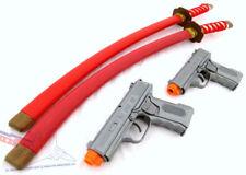 Toy Guns Ninja Set! 2x Silver 9MM Toy Pistols & 2x Red Ninja Katanas