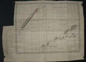 VANUATU & NEW CALEDONIA 1774 COOK/BENARD/HAWKESWORTH ANTIQUE COPPER ENGRAVED MAP