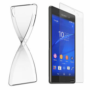 Cell Phone Case Cover Protection for Sony Silicone Transparent+Safety Glass 9H