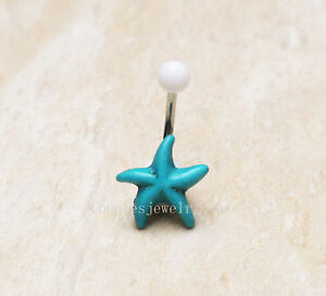 2pcs Turquoise Starfish belly button ring Sea star Navel Piercing belly rings