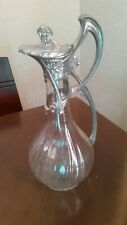 Vintage Diamond Cut Crystal Glass and Silver plate Carafe  Pitcher Wine Decanter