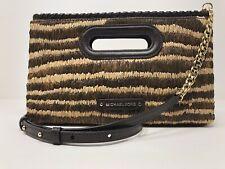 MICHAEL KORS ROSALIE Natural & Brown Raffia Leather Clutch Shoulder NWT