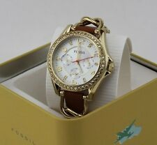 NEW AUTHENTIC FOSSIL RILEY MULTIFUNCTIONAL GOLD CRYSTALS WOMEN'S ES3723 WATCH