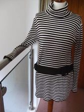 Ladies KALIKO stretch rollneck TUNIC TOP UK 16 14 stripey 1960s retro turtle