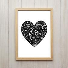 Kunstdruck DIN A4 Liebe Herz Spruch Text Deko Kalligraphie Bild Love Geschenk