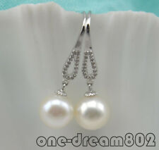 Real 10mm white round freshwater pearl dangle earring 925SS