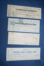 4 diff. New York City checks, 1888 to 1899, cuts cancelled