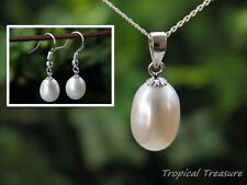 White Pearl Pendant & Earring set + 40cm 925 SOLID Sterling Silver chain
