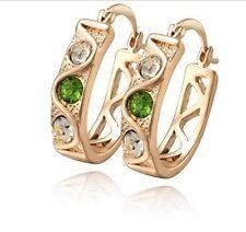 18 k Gold Plated Green & White Crystal Hoops Earrings E420