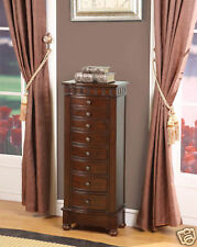 8 Drawer Jewelry Armoire with mirror lid, ring rolls, all felt lined