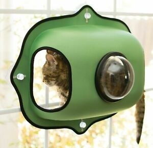 Cat window bed Bubble Pod DOUBLE cosy snuggle pet hammock GREEN Den Kitten