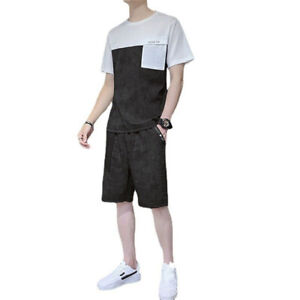 Men's Summer Outfit Ice silk 2 Pieces Sweatsuit Shorts Set Loungewear Casual Set