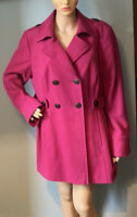 M&S Womens Double Breasted  Coat Jacket U.K. Size 18 Cerese Pink Pockets BNWoT