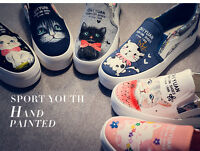 Women's Hand-painted Cute Cartoon kittens Sweet Cat comfortable Canvas Shoes