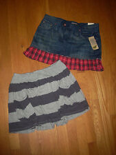 "LOT 2 NWT $35 Jean SKIRT & Striped Knit Lot x2 Jr Misses 5 M 30"" (OR Plus Girls)"