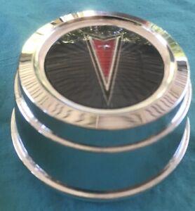 Vintage Pontiac Logo Emblem GRAY Chrome OEM Wheel Rim Center Hub Cap 100 5310