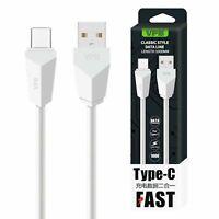 1m USB Typ C Kabel Fast Charging Ladekabel Sync Datenkabel Samsung Huawei weiss