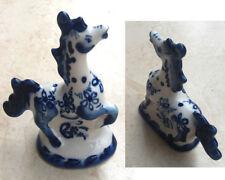 Figurine de Cheval Gzhel - Figurines Porcelaine Russe Bleu & Blanc