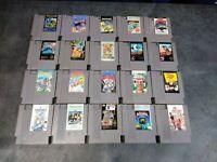 20 Nintendo NES Game Lot   TMNT, Top Gun, Marble Madness, Commando, Duck Hunt