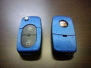 Blau Brushed Dekor Schlüssel Folie  Seat leon Golf Passat VW Bora Polo Skoda