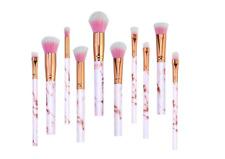 Profesional cepillos de maquillaje rosa 10 piezas de patrón de mármol Conjunto de Pinceles para Maquillaje