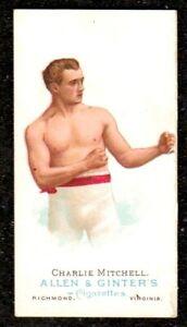 1888 ALLEN & GINTER THE WORLDS CHAMPIONS BOXER CHARLIE MITCHELL CIGARETTE CARD