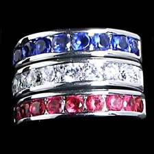 3 RING SET_RED_WHITE_BLUE  CZ WEDDING BAND_SZ-5__925 STERLING SILVER