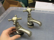 Antique Sink Basin Taps French Architectural Salvage Vintage Old Chromed Brass