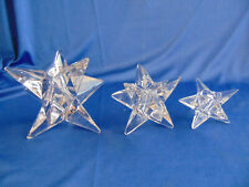 "3 Clear Glass tapered candle holder stars multi pointed 1 3/4"" 2 3/4"" 4 3/4"" h"