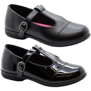 Girls Patent Back to School Shoes Kids Buckle Strap T Bar Formal Black Pump Size