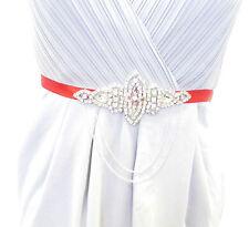 Red Silver Chain Diamante Belt 1920s Flapper Fancy Dress Great Gatsby Vtg 1821
