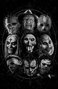 Krueger Voorhees Myers Horror movies SLASHERS print poster Jigsaw Mashup
