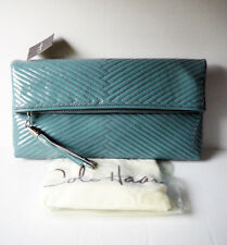Cole Haan Laury Mermaid Large Foldover Quilted Patent Leather Clutch - NWT