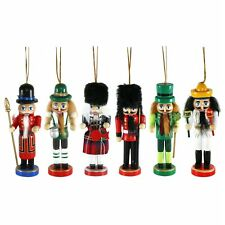 Pack of 6 Large Wooden Nationality Christmas Tree Nutcracker Decorations