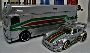 Hot Wheels Custom RWB Porsche and Transporter, Real Riders, Alitalia Racing