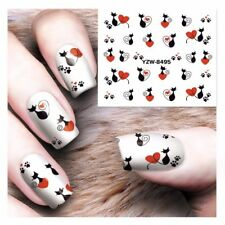 Black Cats Love Paws Nail Art Sticker Decal Decoration Manicure Water Transfer