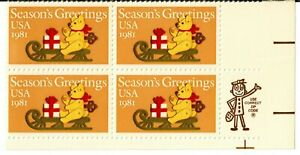 Scott 1940 20¢ Season's Greetings Zip block of 4 MNH Free Shipping!!!