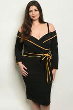Womens Plus Size Black Cold Shoulder Dress 2XL Long Sleeve Business Attire