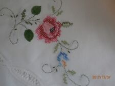 """New listing New Hand Made Cross Stitch & Lace Pink Rose 104""""x64"""" Tablecloth & 12 Napkins"""