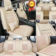 Universal 5 Seats Car Seats Covers Front&Rear Ice Silk+PU Leather Cushion&Pillow