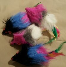 "Faux Fur Mice Apx 4"" Bodies w/Feather Tails & Rattle Lot of 2."