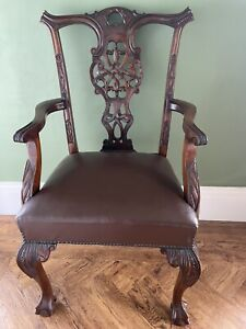 Antique Victorian Set Of 6 Chip N Dale Style Wide Seat Dining Chairs