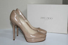 New sz 11 / 41 Jimmy Choo Platform Cosmic Classic Nude Patent Leather Pump Shoes